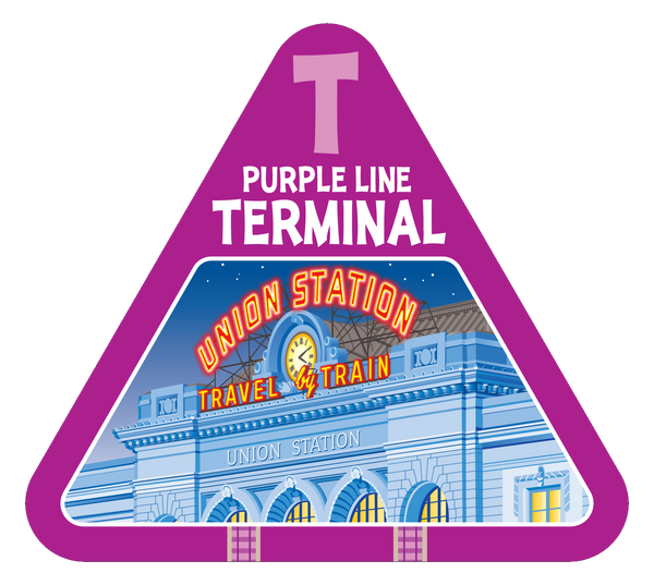 Purple line terminal card from On Track railroad train game by TREND