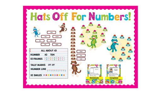 D8298 Sock Monkeys Numbers 0-120 Hats Off for Numbers! Bulletin Board Idea