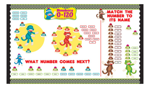 D8298 Sock Monkeys Numbers 0-120 Number Fun Bulletin Board Idea