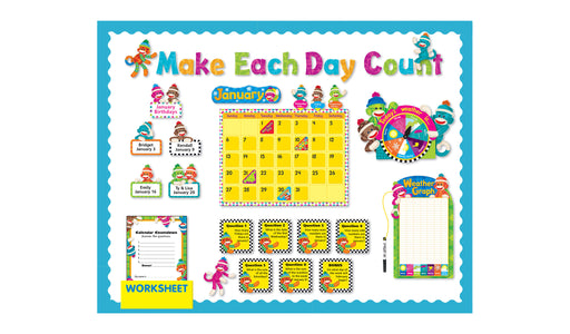 D8416 Sock Monkeys Calendar Make Each Day Count Bulletin Board Idea