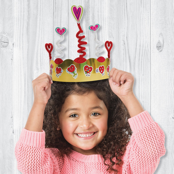 Valentine Sticker Crown DIY