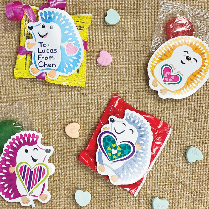Color Harmony Hedgehog Valentine Cards
