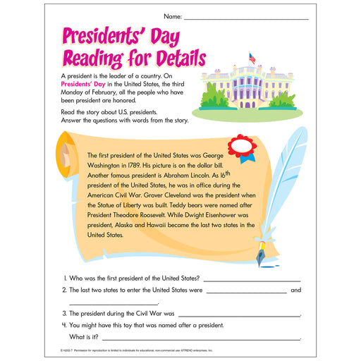 Presidents' Day Reading for Details Free Printable