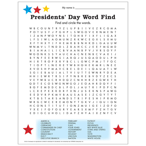 Presidents' Day Word Find Free Printable