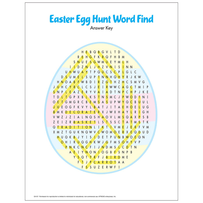 E4107 Easter Egg Hunt Word Find Free Printable