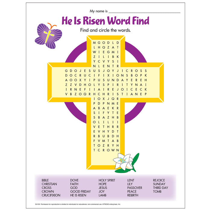 E4108 He Is Risen Word Find Free Printable