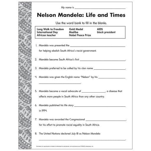 E54044 Nelson Mandela Life and Times Worksheet reproducible