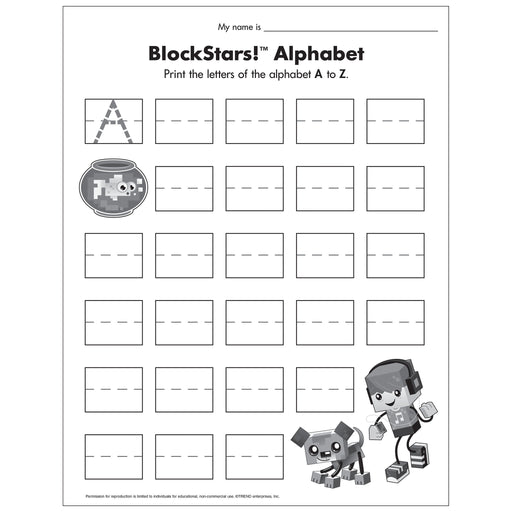 E54046 BlockStars Alphabet Worksheet reproducible
