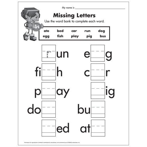 E54046 Missing Letters Worksheet reproducible