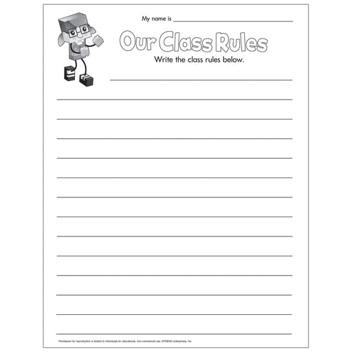 E54049 BlockStars!® Our Class Rules Blank Chart reproducible