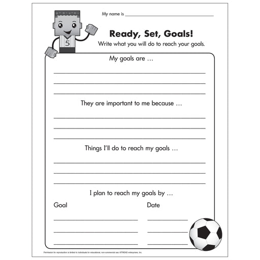 E54049 BlockStars!® Ready Set Goals Worksheet reproducible