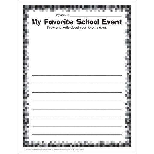 E54050 My Favorite School Event Worksheet reproducible