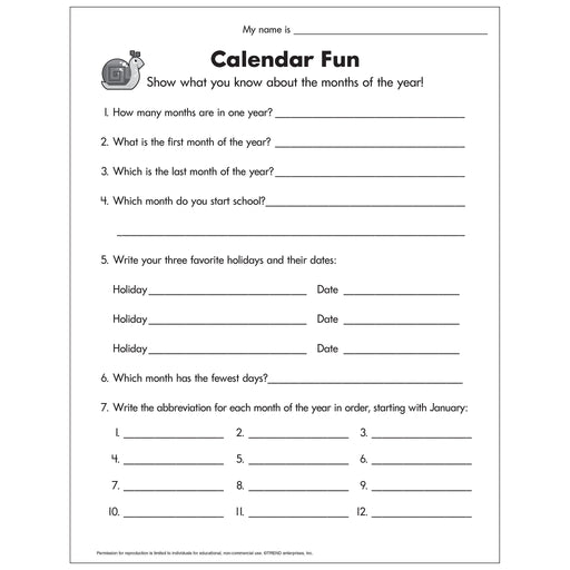 E54052 Calendar Fun Worksheet reproducible