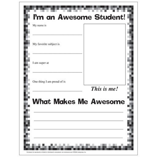 E54055 I'm an Awesome Student Worksheet reproducible