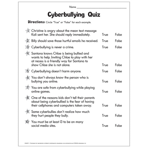 Cyberbullying Quiz Free Printable