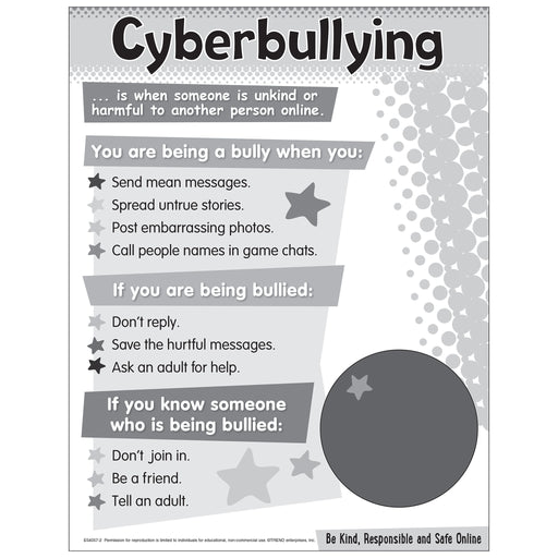 Cyberbullying Chart - Primary Free Printable