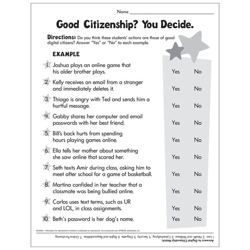 Good Citizenship - Primary Worksheet Free Printable