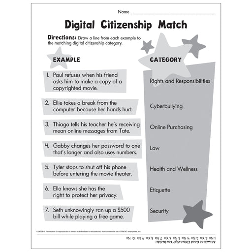 Digital Citizenship Matching Activity Free Printable