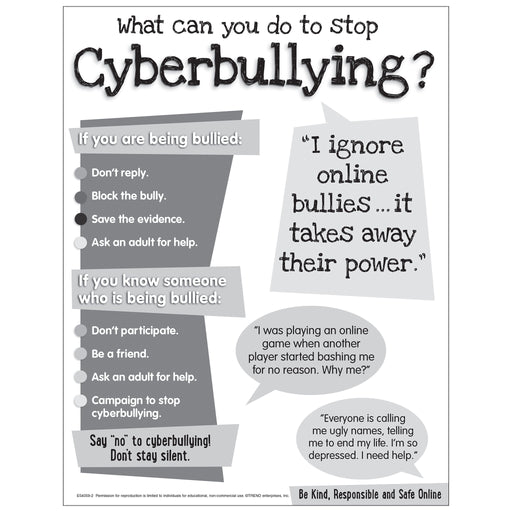Cyberbullying Chart - Secondary Free Printable