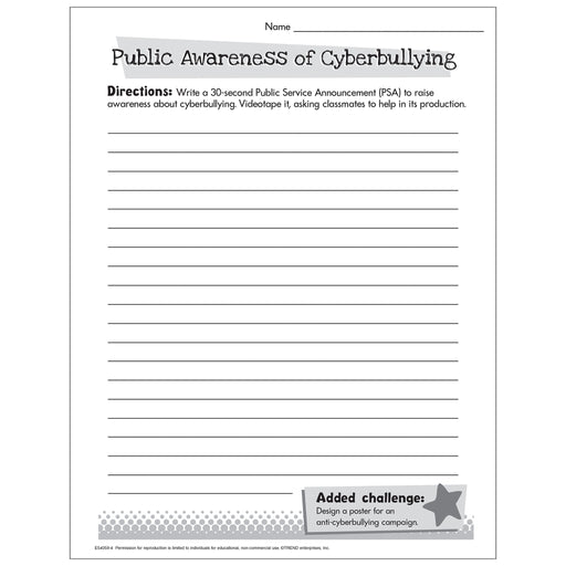 Cyberbullying Public Awareness Service Announcement Worksheet Free Printable