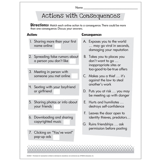 Actions with Consequences Worksheet Free Printable