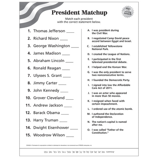 Presidents of the United States Matchup Free Printable