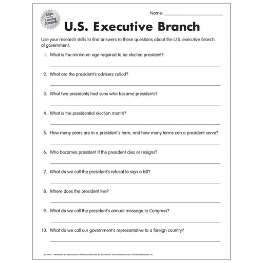 US Executive Branch Worksheet Free Printable