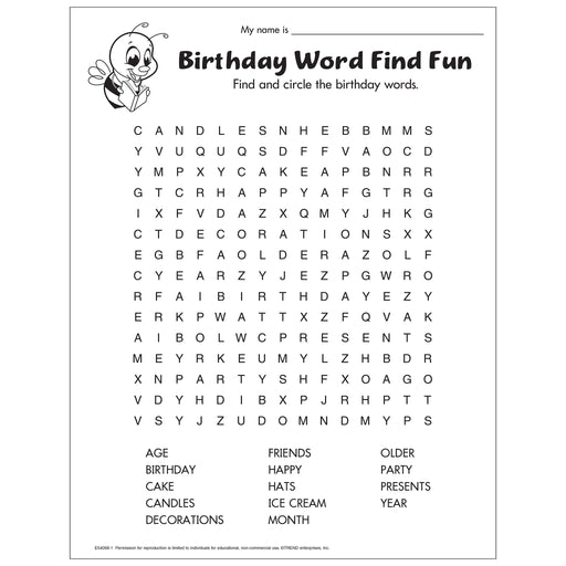 Birthday Word Find Fun Worksheet Free Printable