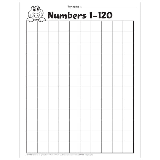 Numbers 1-120 Activity Free Printable