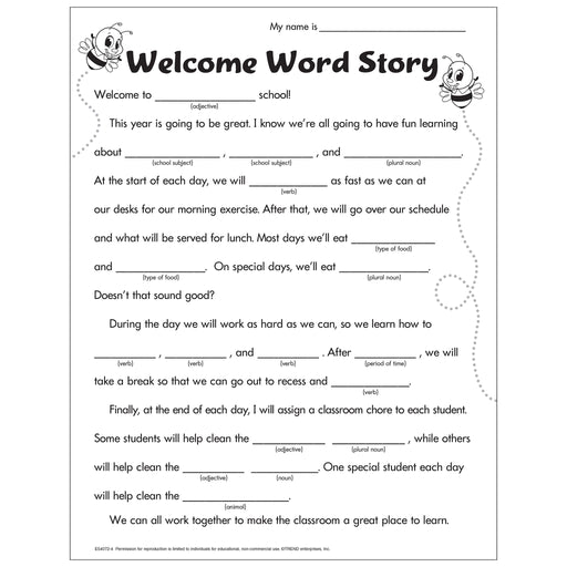 Welcome Word Story Worksheet Free Printable