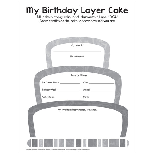 My Birthday Layer Cake Free Printable