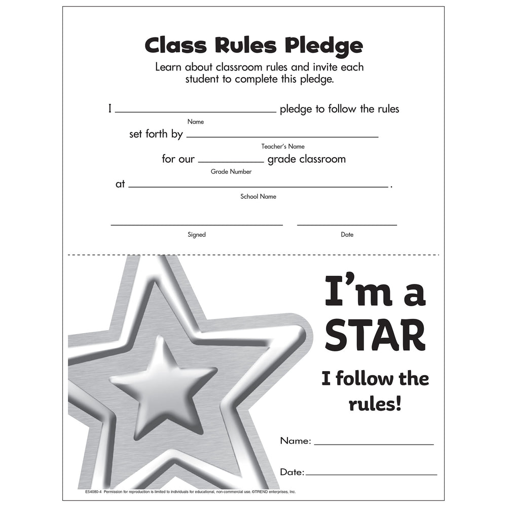 Class Rules Pledge Award Free Printable
