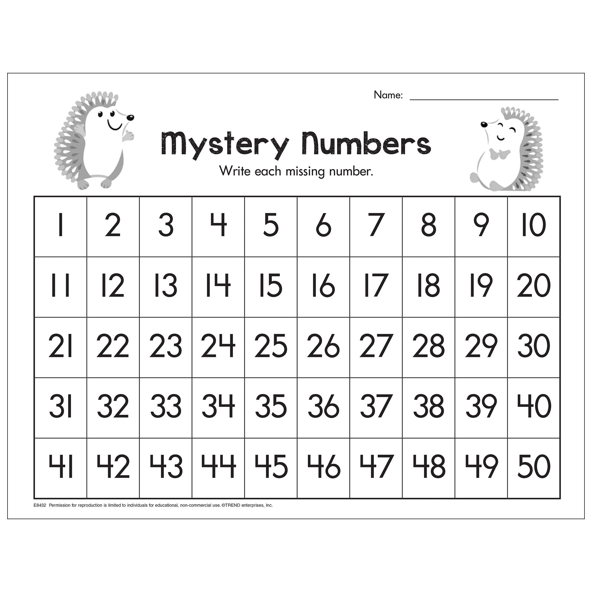 Find the Missing Numbers Free Printable
