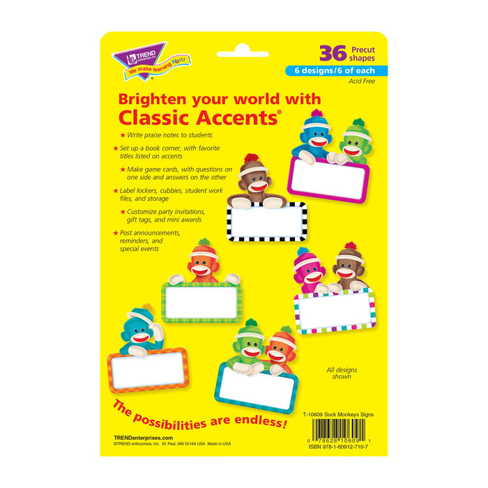 T10609 Accent Sock Monkey Sign Package Back
