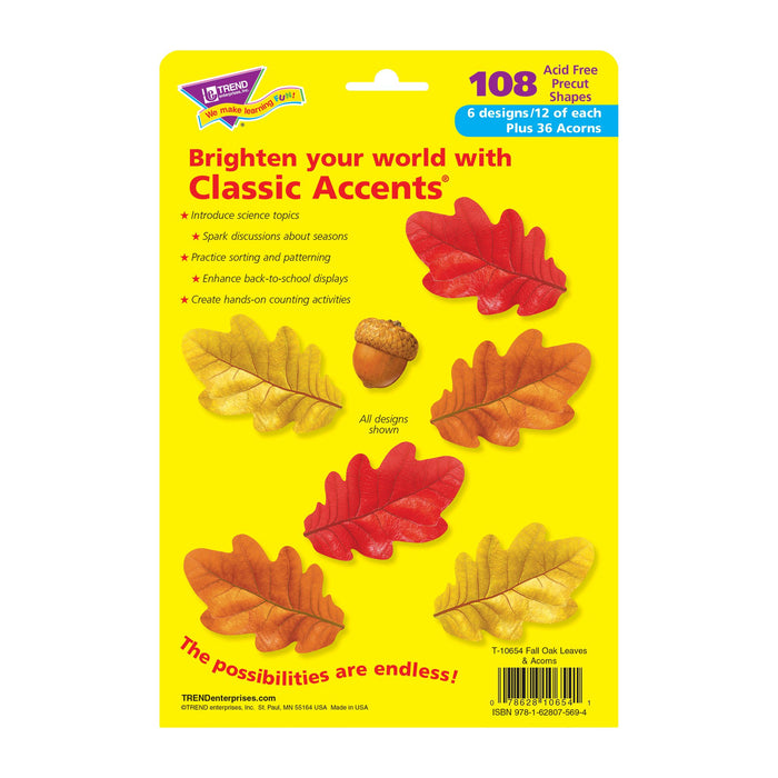 T10654 Accent Fall Leaves Acorns Package Back