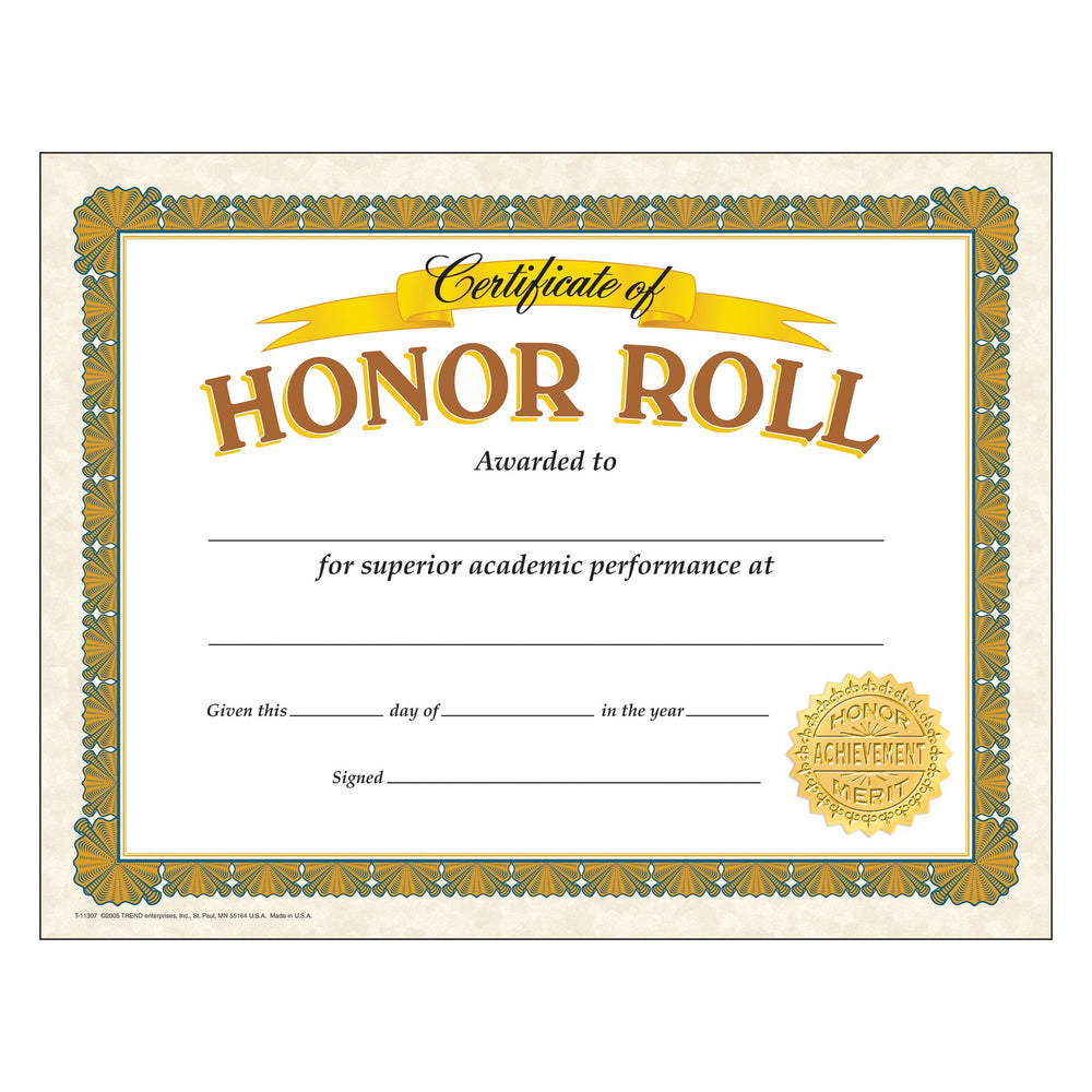 T11307 Award Certificate Honor Roll