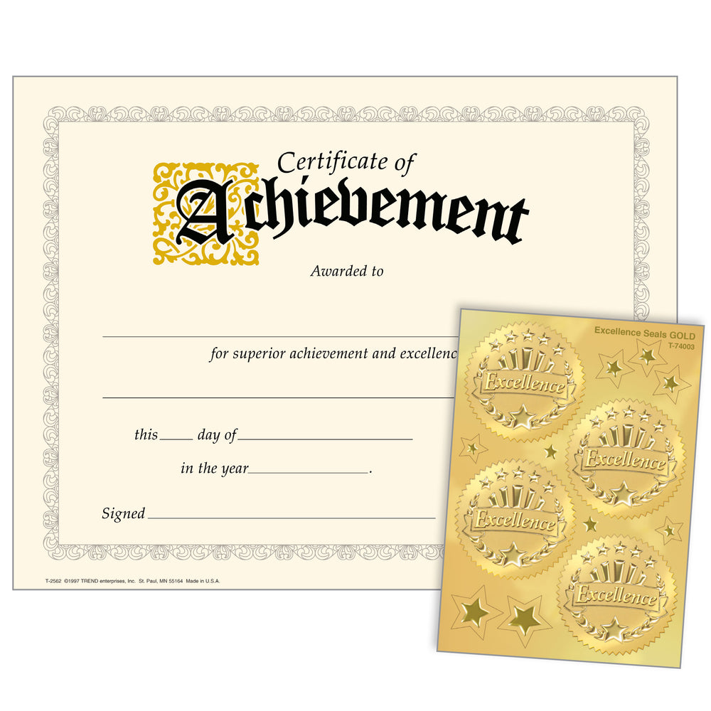Achievement (Excellence Seals) Certificates & Award Seals Combo Pack