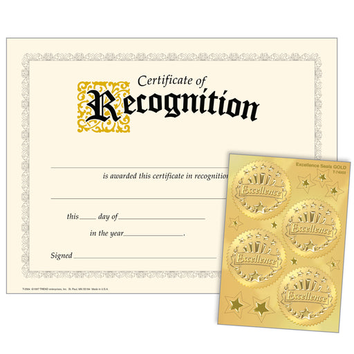 Recognition (Excellence Seals) Certificates & Award Seals Combo Pack