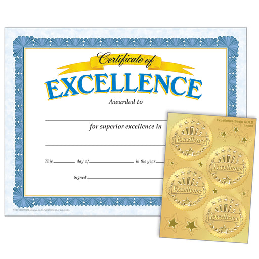 Excellence (Excellence Seals) Certificates & Award Seals Combo Pack