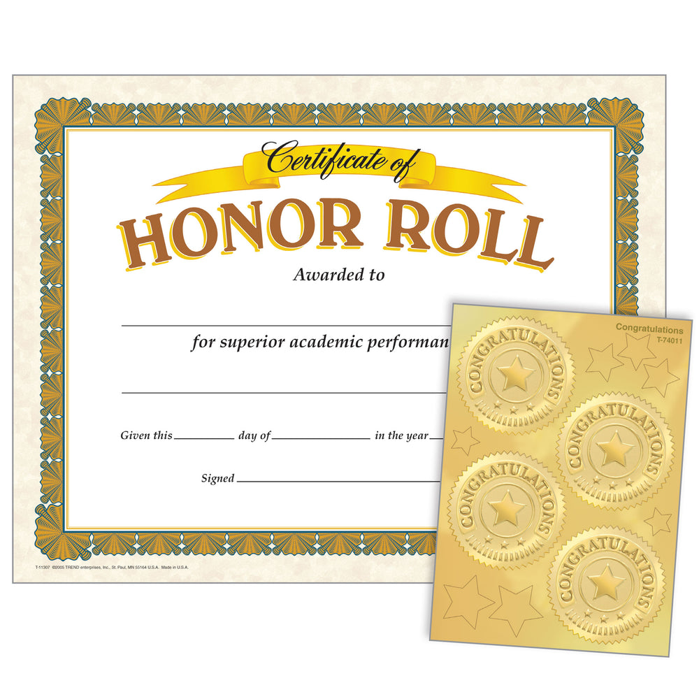 Honor Roll (Congratulations Seals) Certificates & Award Seals Combo Pack