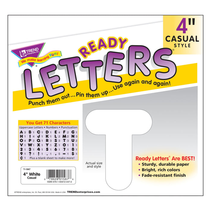 T1567 Letters 4 Inch Casual White Package