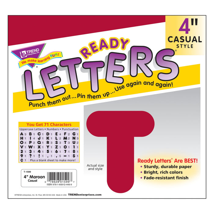 T1599 Letters 4 Inch Casual Maroon Package