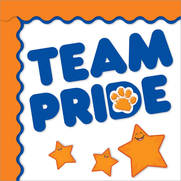Royal blue and orange school team color bulletin board decorations