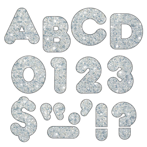 T1613 Letters 4 Inch Casual Silver Sparkle