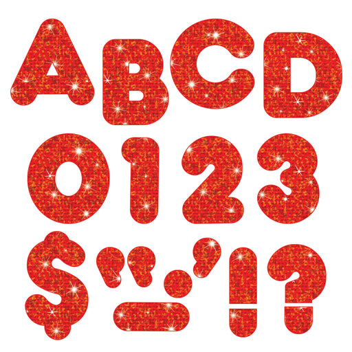 T1614 Letters 4 Inch Casual Red Sparkle