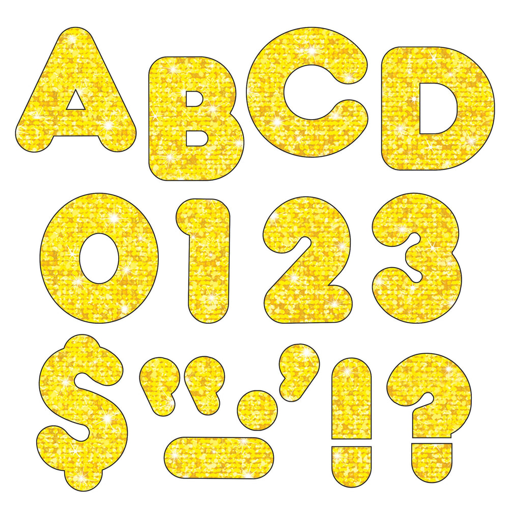 T1616 Letters 4 Inch Casual Yellow Sparkle