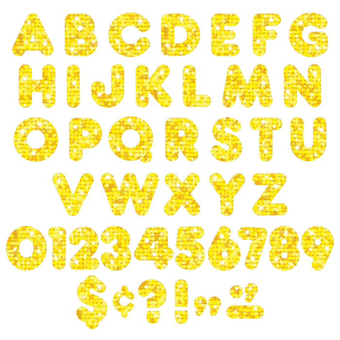 T1616 Letters 4 Inch Casual Yellow Sparkle Alphabet