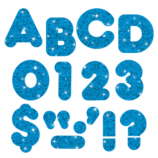 T1617 Letters 4 Inch Casual Blue Sparkle