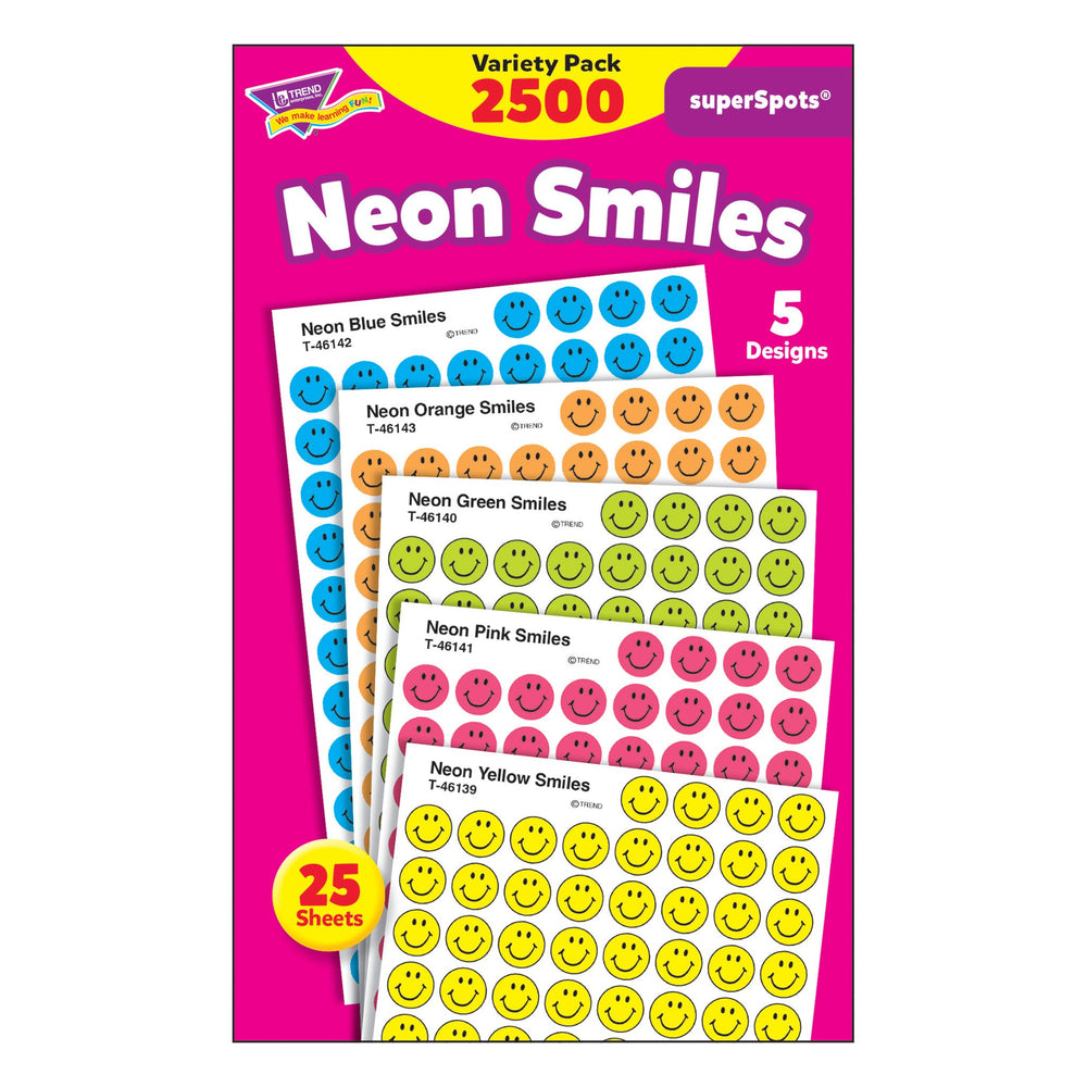 T1942 Sticker Chart Variety Pack Neon Smiles