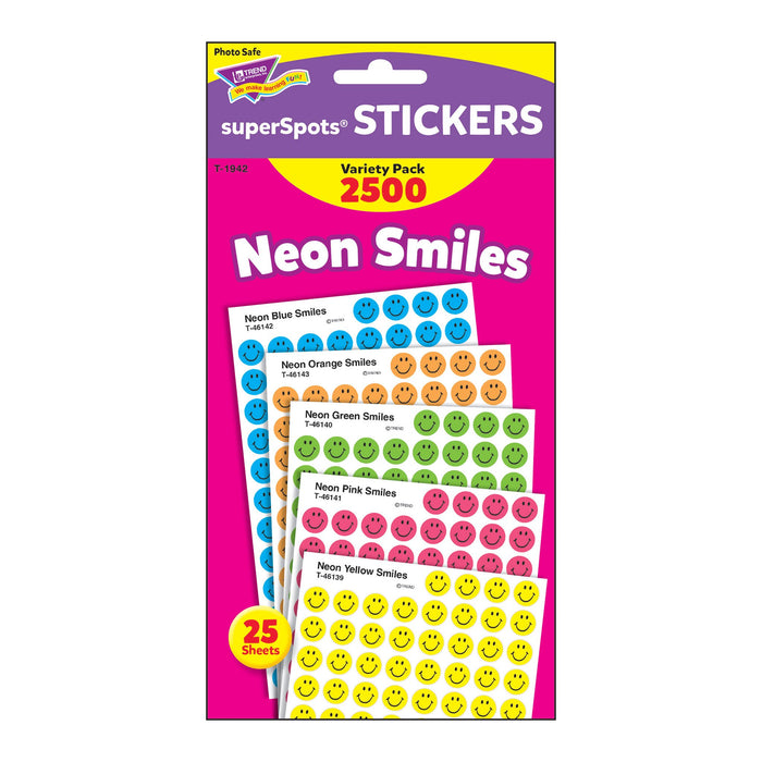 T1942 Sticker Chart Variety Pack Neon Smiles Package